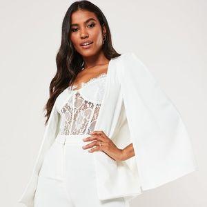 Missguided stretch white crepe cape blazer